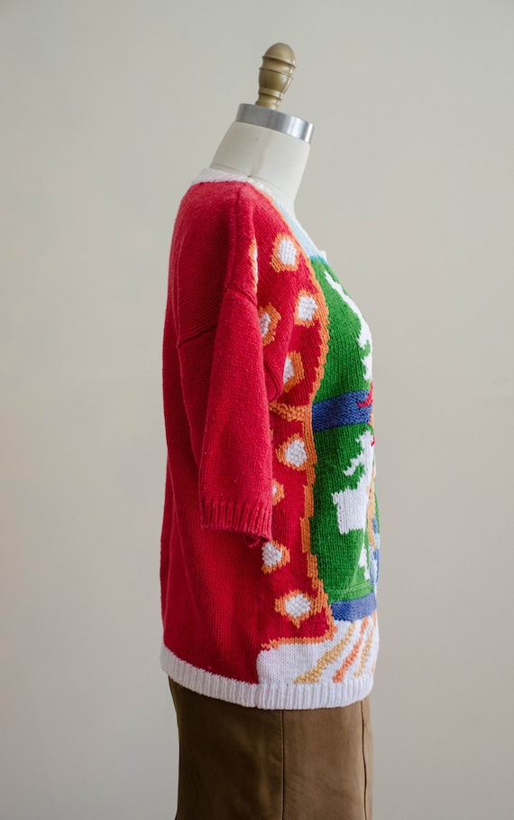 scenic sweater   red floral sweater   short sleev… - image 6
