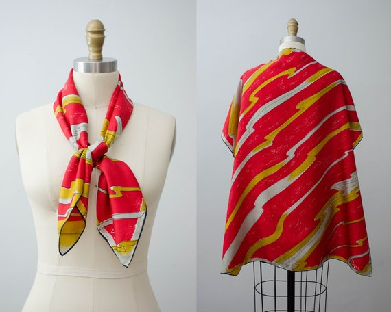 large square silk scarf | red Vera scarf | red sil