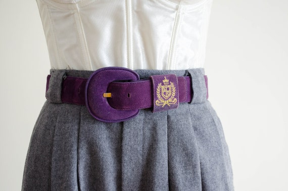 purple suede belt | purple leather belt