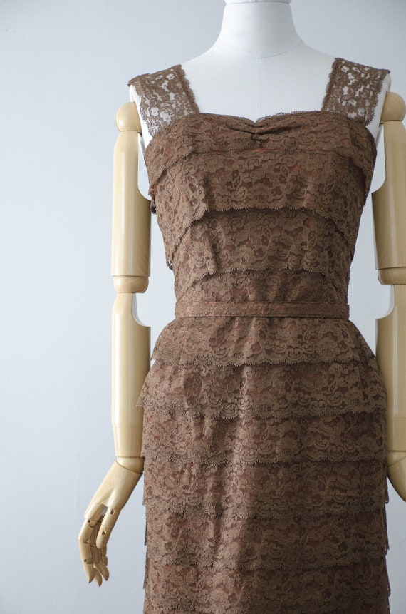 1950s dress and jacket set | brown lace wiggle dr… - image 4
