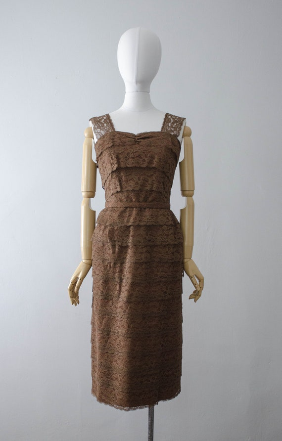 1950s dress and jacket set | brown lace wiggle dr… - image 2