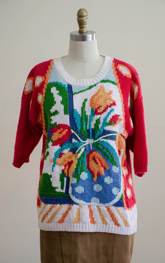 scenic sweater   red floral sweater   short sleev… - image 3