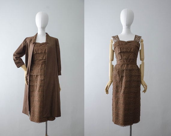 1950s dress and jacket set | brown lace wiggle dr… - image 1