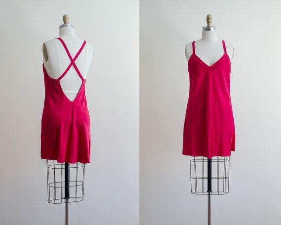 silk slip dress | hot pink dress