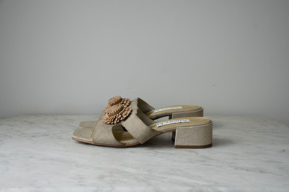 chunky sandals | taupe fabric mules | 1990s shoes… - image 3
