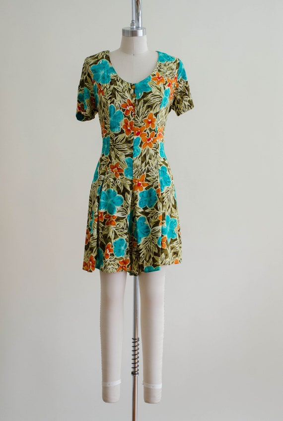 tropical floral romper   short sleeve vintage rom… - image 4