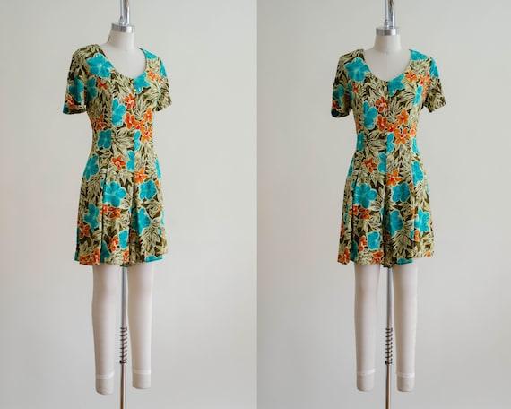 tropical floral romper   short sleeve vintage rom… - image 1
