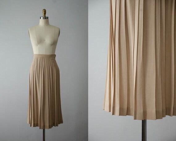 tan pleated midi skirt | pleated wool skirt