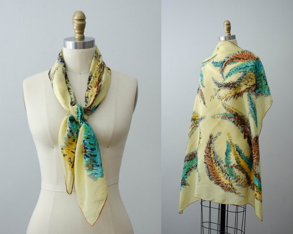 large square scarf | 1940s silk scarf | feather no