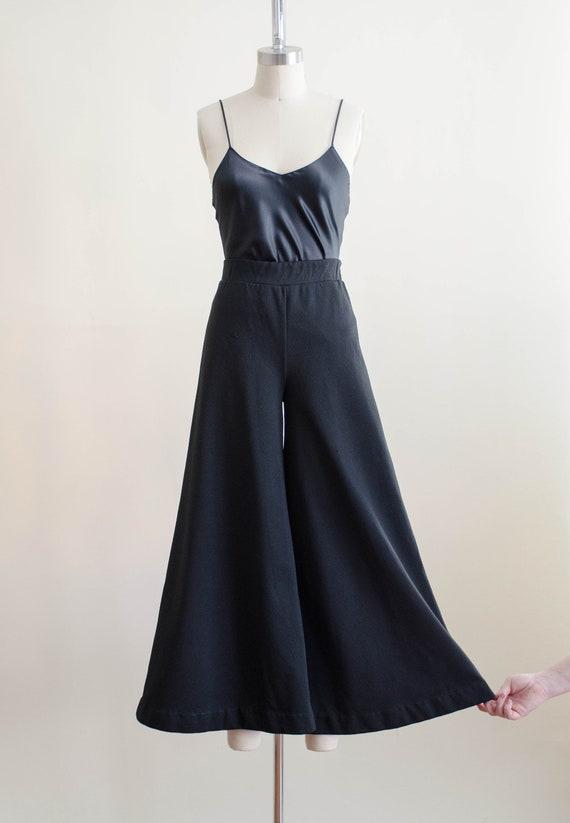 70s black wide leg pants | high waisted palazzo f… - image 2