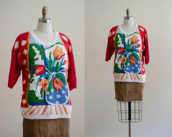 scenic sweater   red floral sweater   short sleev… - image 1