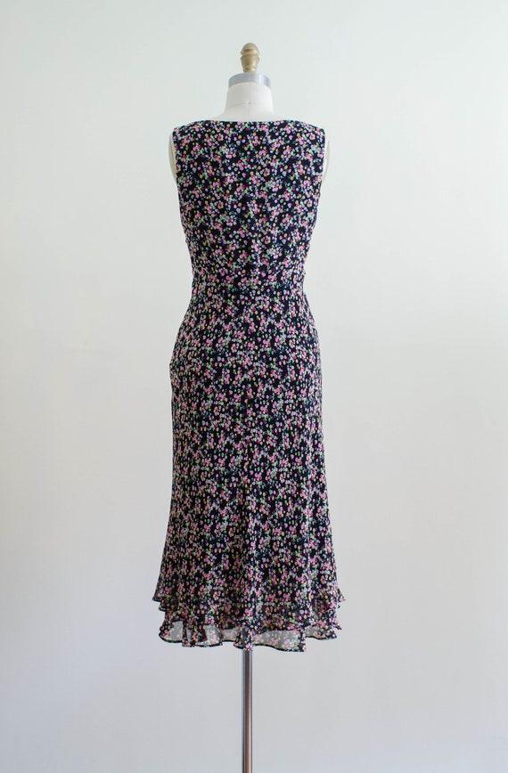 30s style silk bias dress   90s black rainbow pol… - image 7