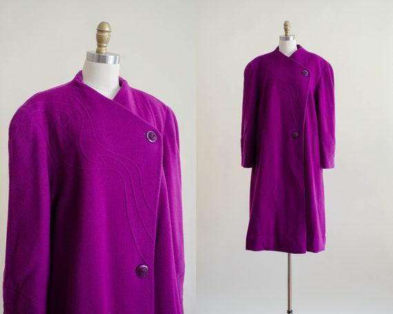 purple wool coat | purple swing coat | avant garde