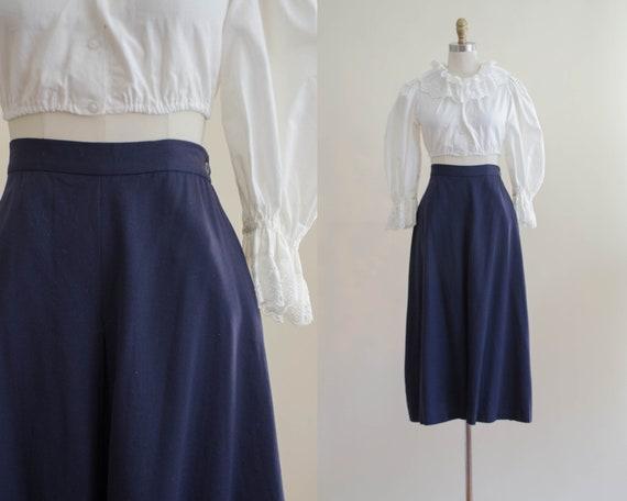 navy wool midi skirt | wool gabardine skirt