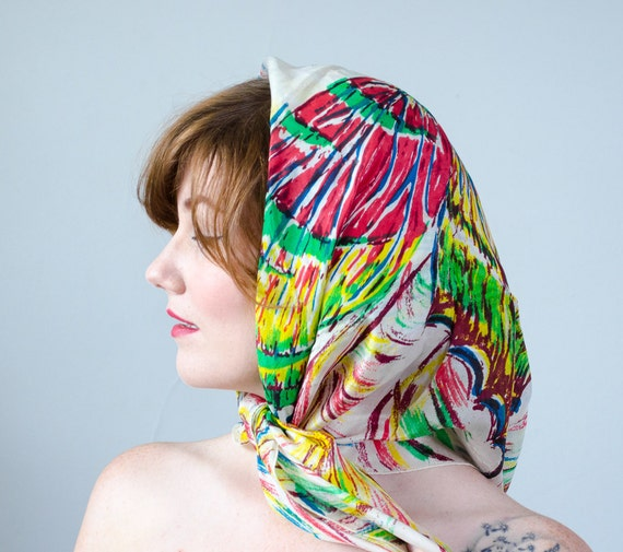 1940s vintage scarf / rainbow silk butterfly scarf - image 3