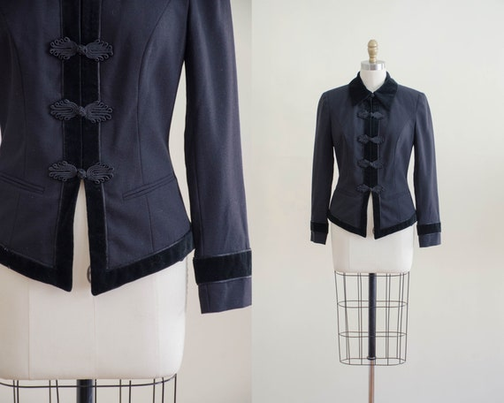 black wool jacket | black velvet jacket