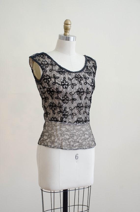 1950s black lace top | lace illusion blouse - image 6