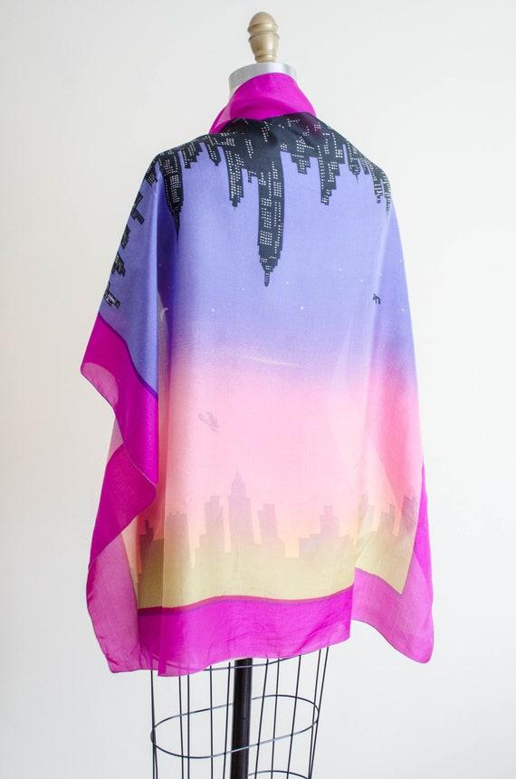 rare 1950s novelty print silk scarf   city skylin… - image 5
