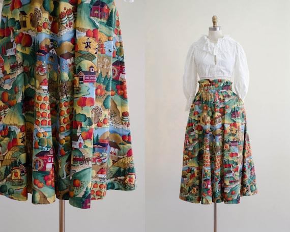 scenic midi skirt | country novelty print skirt