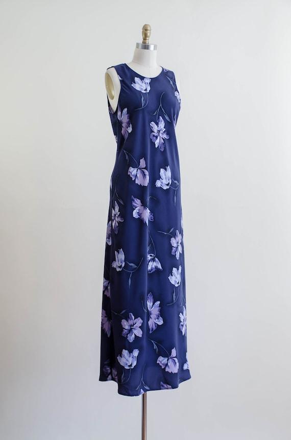 90s blue floral maxi dress | 30s style bias cut f… - image 4