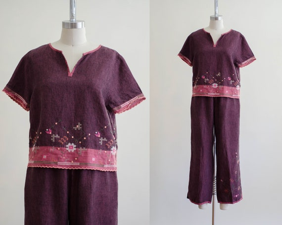 linen lounge set | burgundy embroidered lounge set