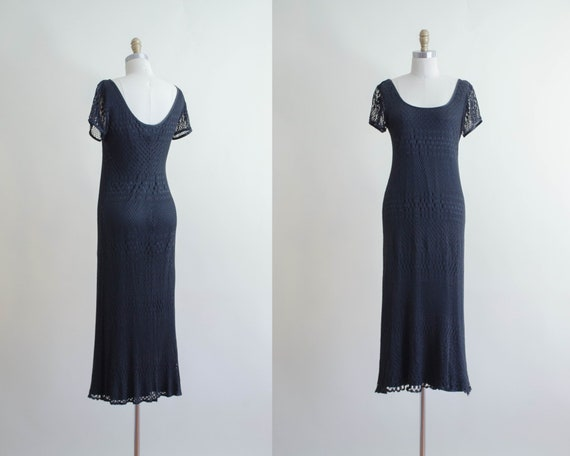 black maxi dress | crochet maxi dress