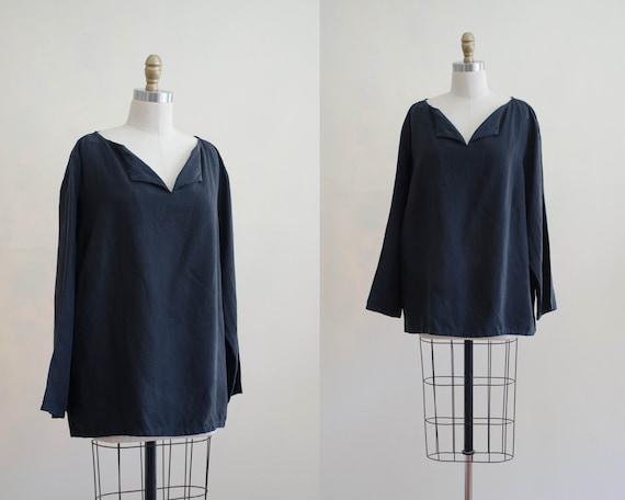 black linen tunic | black silk shirt