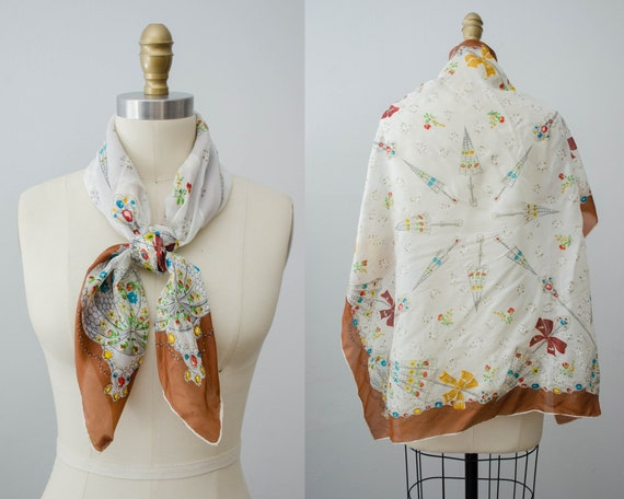 large square silk scarf | parasol novelty print sc