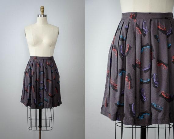 novelty print skirt   shoe novelty print   purple
