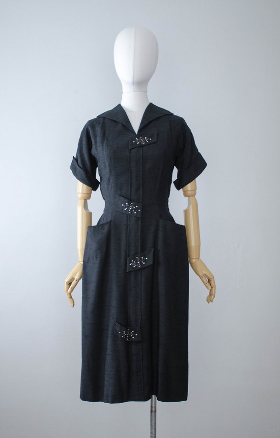 black 1940s dress | black beaded dress | black 50s