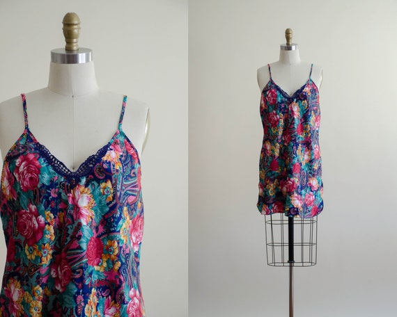 silky nightgown | floral nightgown | vintage linge
