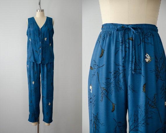 blue rayon pants set | butterfly novelty print | h