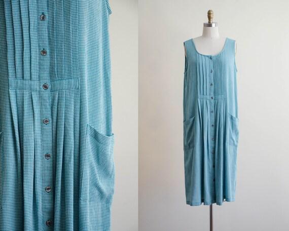 sleeveless oversized dress | green gingham dress
