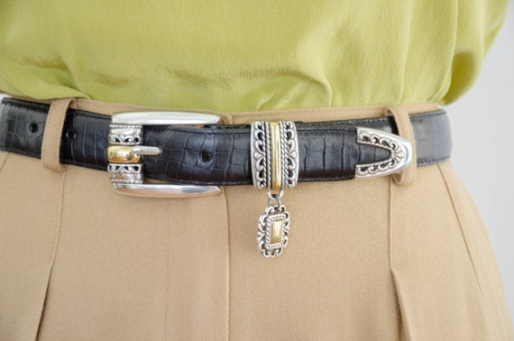 black alligator leather belt | statement belt