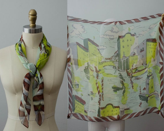 1940s silk scarf | Venice novelty print scarf | Gl