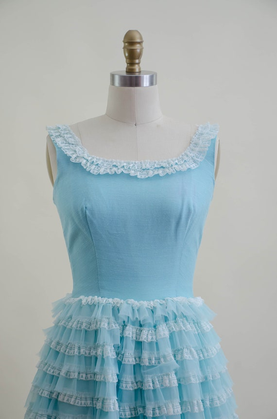 50s blue tulle ball gown   aqua turquoise white l… - image 2