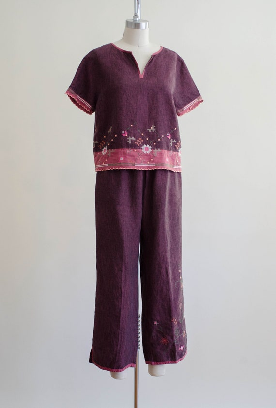 linen lounge set | burgundy embroidered lounge set - image 6