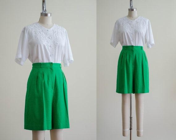 high waisted shorts   green linen blend shorts