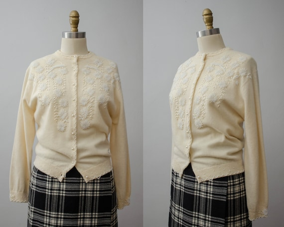 1950s cream cardigan | beaded cardigan