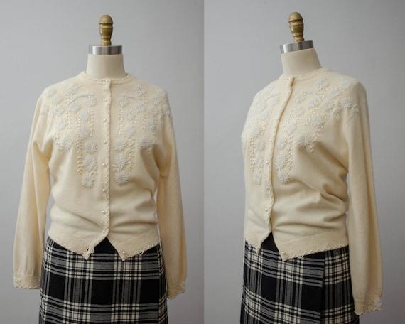 1950s cream cardigan | beaded cardigan