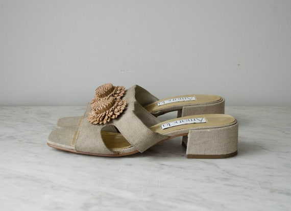 chunky sandals | taupe fabric mules | 1990s shoes… - image 2