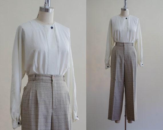 high waisted pants | plaid trousers