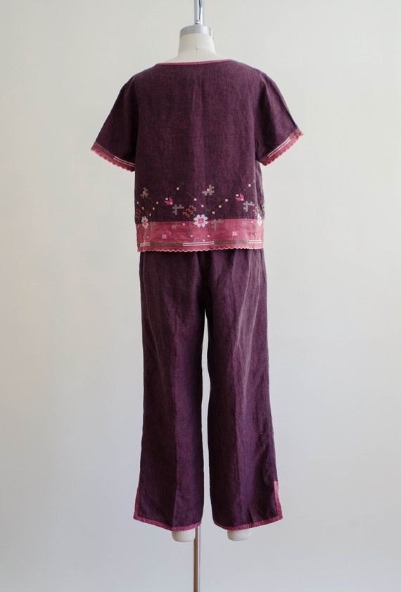 linen lounge set | burgundy embroidered lounge set - image 8