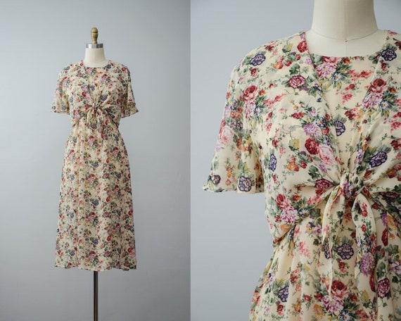 beige floral dress | chiffon floral dress