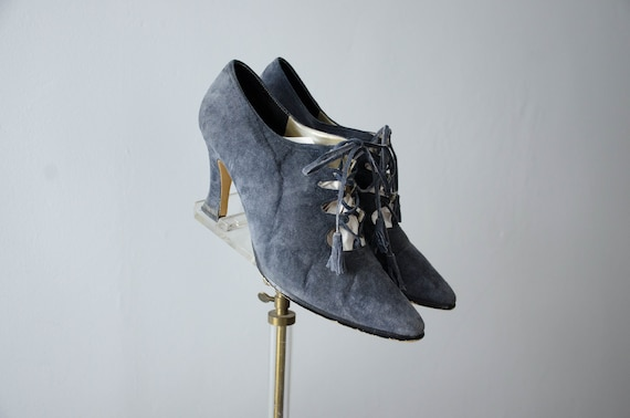 Image result for Gray suede lace-up heels witchy shoes