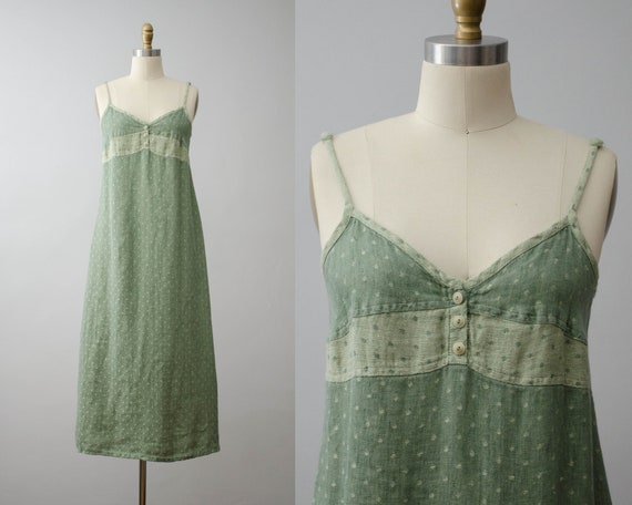 green linen dress | maxi slip dress