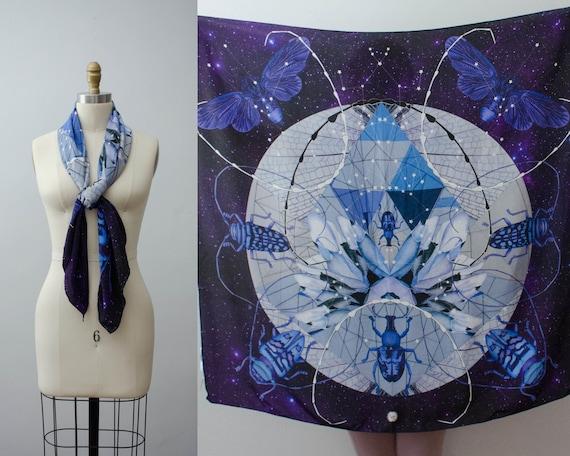 large silk scarf | designer silk scarf | celestial