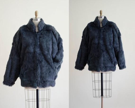 gray fur coat | rabbit fur coat