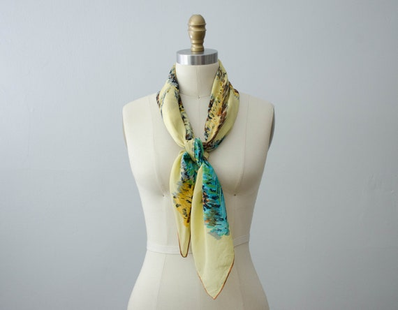 large square scarf | 1940s silk scarf | feather n… - image 4