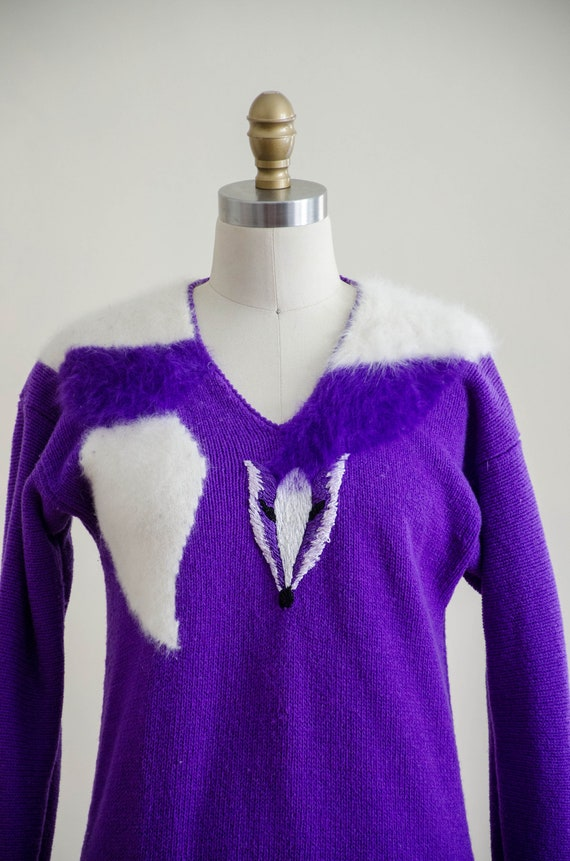 vintage purple fox sweater | fuzzy angora sweater… - image 3
